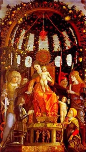 virgin and child surrounded by six saints and gianfrancesco II gonzaga known as the madonna of victory 1495 XX louvre paris fran